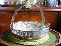 Gyönyörű, antik, nagy méretű, alpakka, üvegbetétes, füles kínáló tál, asztalközép
