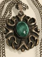 Retro iparművészeti nyaklánc, ezüstözött bronz