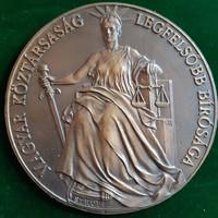 Veres Gábor:  Strobl Alajos Justitia szobra, bronz plakett, dombormű