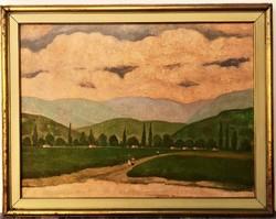 Böhm Lipót (1916 - 1995) A falu felé c. Képcsarnokos festménye 92x72cm EREDETI , GARANCIÁVAL !!!