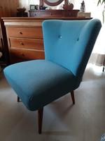 Retro sky rugós fotel újrahúzott türkiz szövettel