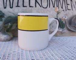 Gránit Gyönyörű ritka sárga fekete fehér bögre nosztalgia darab falusi paraszti dekoráció