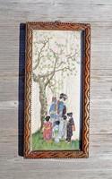 Régi selyemre festett japán jelenetes, jelzett kép
