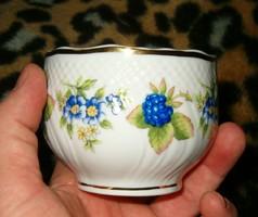 Hollóháza  kis váza vagy tál nagyon szép kék virágos minta porcelán hollóházi arany szín szélű