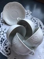 Richard Ginori gyönyörű fehér anyagában mintás teás csészék