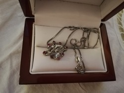 Eladó régi ezüst lánc ezüst medállal brillekkel, rubinokkal!