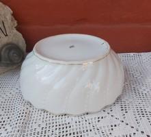 Vastag fehér cseh  Czechoslovakia porcelán tál Csavart Gyöngyös mintával Pogácsás tál paraszttál 18