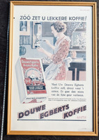 Régi Douwe Egberts gasztro plakát posztert reklam keret+üveg