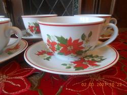 Zsolnay mikulásvirág mintás teás csészék