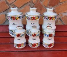 Kalocsai virágos Gyönyörű Paprika Bors Fahéj Liszt Só Cukor fűszertartó fűszeres falusi porcelán 13