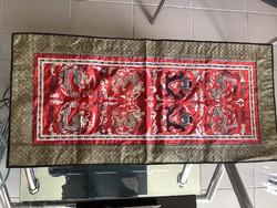 70x32 cm-es Kínai selyempanel hímzett sárkánymotívummal