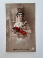Régi húsvéti képeslap 1918 női fotó levelezőlap