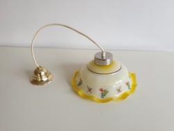 Régi virágos fodros üveg lámpabúrás vintage mennyezeti sárga lámpa