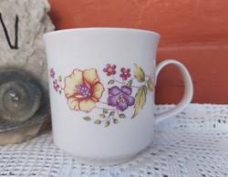 Ritkább Alföldi porcelán virágos tölcsérvirágos  bögre Gyűjtői  nosztalgia darab