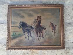 Viski János lovas életkép olaj-vászon festmény