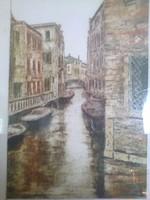 Takács Dezső: Velence , színes rézkarc 1970