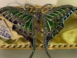 Ezüst pillangó kő és zománc berakással