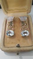 Art deco14.kr.arany fülbevaló gyémántokkal-akvamarinnal és rubinokkal