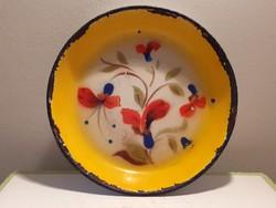 Régi budafoki zománcos tál vintage virágos zománcozott tányér