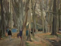 Fáy Győző (1918-2005) : Erdei út sétálókkal