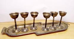 Neobarokk ezüstözött likőrös készlet, tálca és 6db pohár. Egyedi különlegesség.