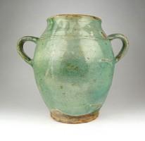 1D552 Antik zöld mázas cserép kétfülű fazék szilke 19. századi darab 25.5 cm