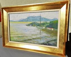 Döbrentey Gábor (1897-1990): Csendes hullámok - Képcsarnoki / olaj farost / Balaton / vitorlás