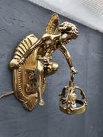 Antik, angyal, puttó szobros falilámpa, falikar