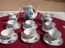 Zsolnay kék rózsás 6 személyes kávés készlet, igen ritka, Hibátlan, Nem használt!