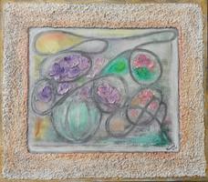 Shabby chic virágok. 40x45 cm-es különleges új stílus. Károlyfi Zsófia Prima díjas alkotó műve.