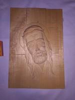 Jézus - faragott fa falidísz
