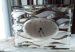 """Eredeti francia ólomkristály asztali óra, működőképes, elemes, jelzett  """"genuine lead crystal"""""""