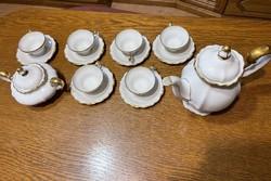 Antik Rosenthal Pompadour 6 személyes teás és/vagy kávés készlet 14 karátos arany díszítéssel.