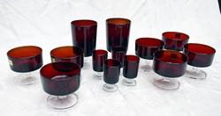 Retro Luminarc Verrerie D'Arques Franciaország Cavalier rubinvörös átlátszó üveg pohár készlet 13 db