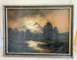 Festmény Szepesi Kuszka Jenő tájkép a Magas-Tátráról