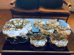 Régi (20. század eleji) sárga üveg süteményes tál 6 tányérral.