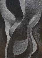 Kovács: Akt (J.E.D.), 1972 - hatalmas méretű grafika, keretben
