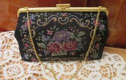 Régi gobelin táska réz szerelékes rózsamintás tű , retikül kézzel készült-nem volt használatban