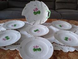 Herendi tavirózsa mintás süteményes tányérok kínálóval