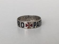 """I. világháborús ezüst gyűrű """"Pro Patria"""""""