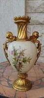 Antik luxus aranyozott figurális angyalkàs fém szerelékes porcelán díszvàza. Jelzett belül!
