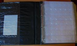 Érmetároló album – 744 db - vegyes méretű érme tárolására - A4 méretű – fekete színű - használt!