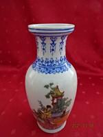 Japán porcelán váza, kék szegéllyel, magassága 20 cm.