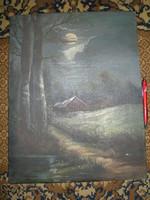 Háztáji festő tehetség festmény -e, olajfestmény . Éjjeli tájkép , holdvilág , Somló tanya
