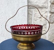3. Rubin pàcolt üveggel kínáló Asztalközép réz elegàns luxus mutatós darab.