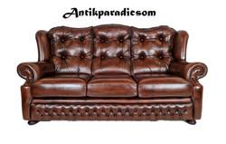 A248 Eredeti chesterfield antik konyak színű bőr kanapé