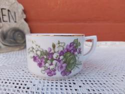 Gyönyörű mintájú Ritka  Drasche ibolyás, Gyöngyvirágos teáscsésze csésze  nosztalgia darab