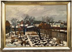 Somogyi Imre (1918 - 1999) Hófoltos kert c .Képcsarnokos festmény 87x62cm EREDETI GARANCIÁVAL