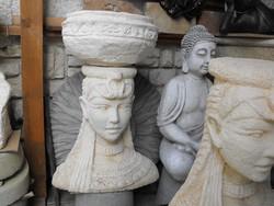 Ritka Szép Rusztikus Balinéz Női virágtartó kaspó  kő szobor Kültéri Fagyálló MűKő