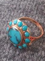 Türkiz köves arany gyűrű
